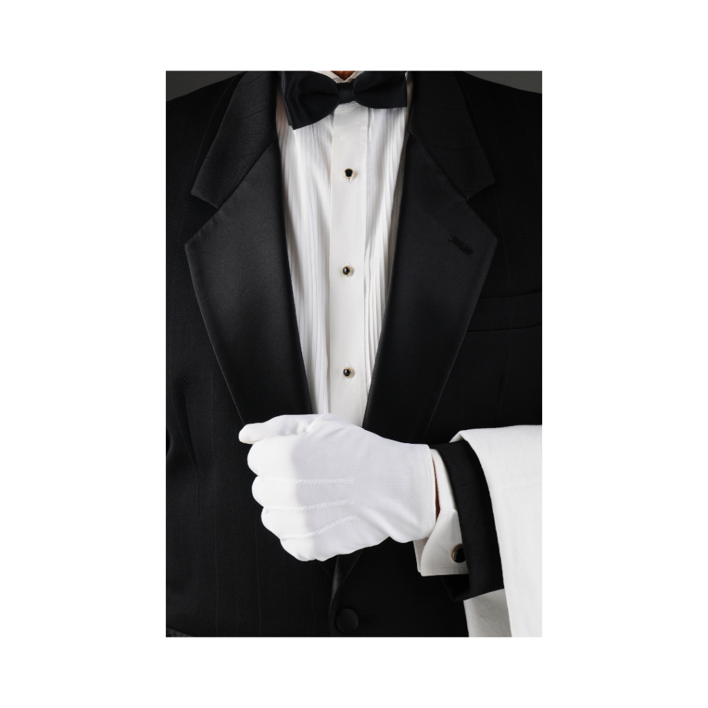 butler with white glove and white napkin