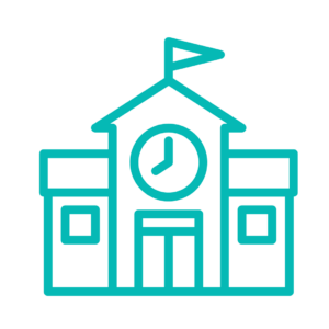 Teal outline of school