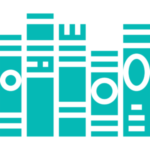 Teal outline of five books