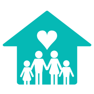 Teal house with heart and family of four