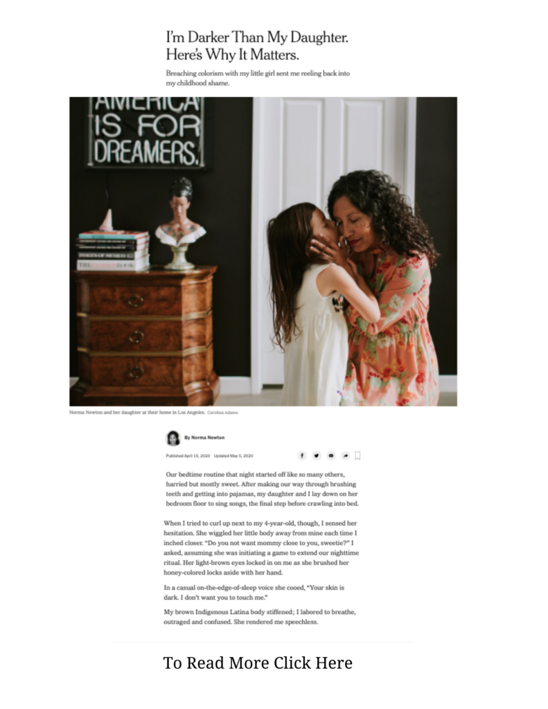 New York Times news article with child kissing mother on cheek